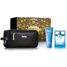 Versace Man Eau Fraiche for Men ( Rinkinys vyrams) EDT 100ml + Shower gel 100ml + Cosmetics bag