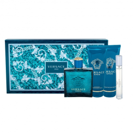 Versace Eros for Men (Rinkinys Vyrams) EDT 100ml + EDT 10ml Miniatiure + 100ml Shower Gel + 100ml After Shave Balm